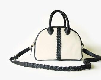 Black + White Leather Bowler Bag -OOAK