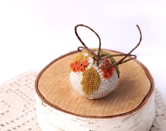 Crochet small  Ball. Autumn Holiday decor. Ecru Crocheted Ball. Crochet for home. home decor. crocheted acorns autumn decoration.