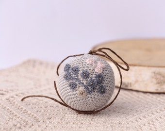 Crochet small  Ball. Autumn Holiday decor.Grey Crocheted Ball. Crochet for home. home decor. crocheted acorns autumn decoration.