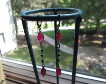 Handcrafted Victorian Sterling Silver Genuine 8.00ctw Rose Cut Ruby w/Genuine Black Spinel Beads Dangle/Drop Earrings Wt. 2.6 Grams