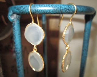 Handcrafted Victorian Gold/925 Sterling ~ 18.50ct Milky White Chalcedony  Dangle Earrings 9 Grams, 2 IN Long