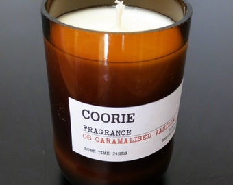 Caramalised Vanilla Scented Soya Candle with a Recycled Glass Bottle Container