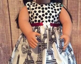 "18"" Doll, Amercan Doll **Clothes **Dress**Paris**Black & White**"