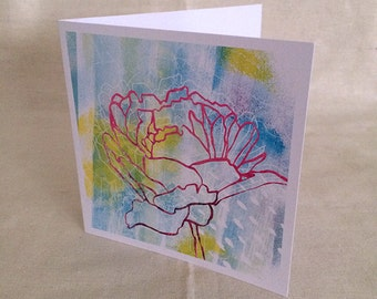 Greeting Card Peony Abstract Print Card