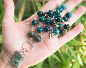 Azurite, Aventurine and Malachite Necklace,Blue Green Necklace,Gemstone Chain,Wire Wrapped Jewelry,Silver Plated Chain, Malachite Charm,Boho