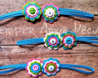 Felt Flower Headband, Button Flower Headband, Spring Flower Headband **CLEARANCE**