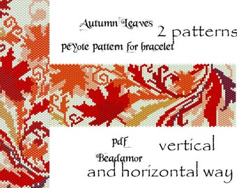 Peyote Pattern for bracelet: Autumn Leaves- INSTANT DOWNLOAD pdf 2 patterns - horizontal and vertical way