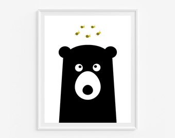 Woodland nursery wall art- Bear print- Black and white kids room decor- (A-273)