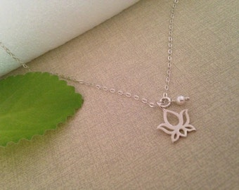 Sterling silver Lotus necklace, lotus with birthstone, spiritual jewelry, yoga meditation necklace, mindfulness, buddhism, zen