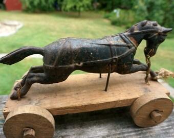 Antique Cast Iron Horse Pull Toy