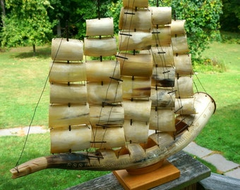 Magnificent Vintage Sailing Ship Made of Horn
