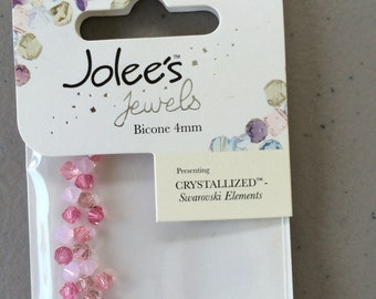 2 Packages of Jolee's Jewels, Bicone 4mm, 30 Count Each, Plus Findings and Beads