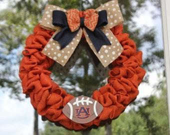 Auburn University Burlap Wreath - Football wreath - War Eagle Wreath