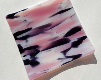 "Purple, Pink & White and White ""Blossom"" Hand-made Small Glass Dish / Plate (10cm x 10cm x 1cm)"