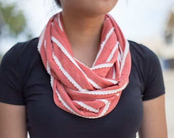 Dark Coral and Off White Scalloped Edged Striped Infinity Scarf