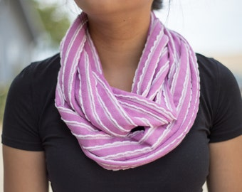 Light Purple with White Scalloped Edged Striped Infinity Scarf