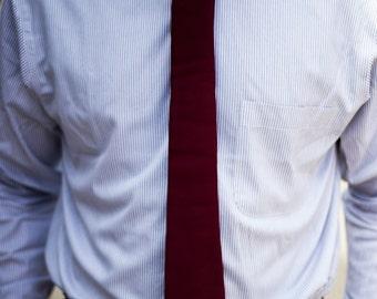 Solid Dark Maroon  Cotton Skinny Necktie