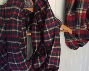 Plaid Flannel Infinity Eternity Circle Scarf Navy Red ~Penelope~