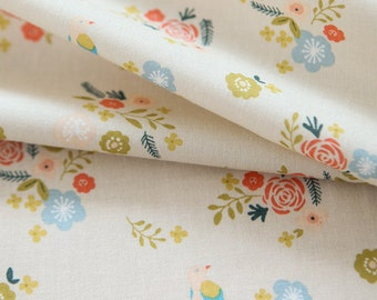 Lovely Flower and Bird Pattern Ivory Cotton Fabric by Yard