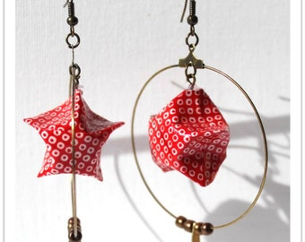 Red and white paper hoops earrings