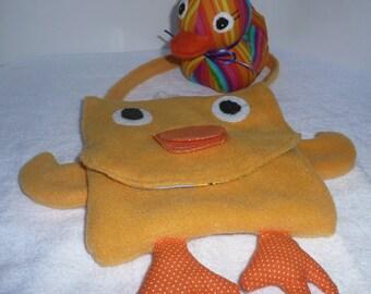 Kids Purse, Duck Purse, Animal Purse, Purse for Kids, Duck Softie, Fleece Purse, Duckie and Purse, Duck Toy, Duck Plush, Beastie Bag