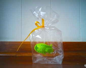 Green belly up goldfish - The Ultimate Pet, Fish in a bag, vegan.