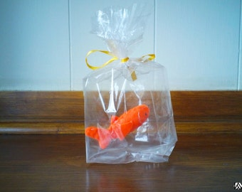 Orange Gold fish - The Ultimate Pet, Fish in a bag, vegan.