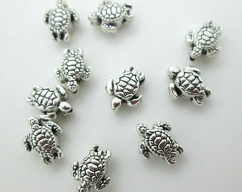 Tiny Sea Turtle Bead, Pewter Turtle Bead, Sea Turtle Charm, 9x7mm Turtle Bead (10)