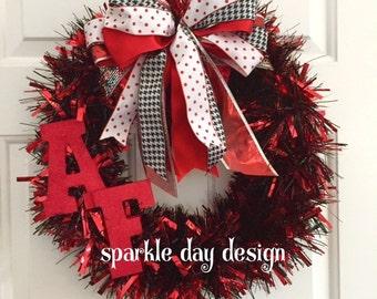 High School Red Black White Wreath Game Day Wreath Team Spirit Front Door Decoration Custom Wreath Any Team Colors Cheerleader Decoration