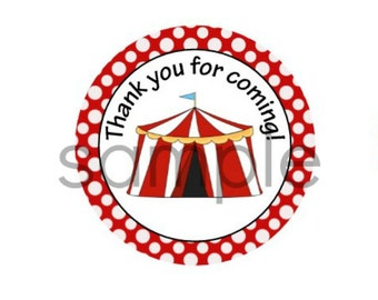 INSTANT Circus THANK YOU Tag or Sticker Printable Party Digital File Circus Theme Party Printable