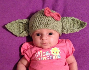 GIRL Yoda Beanie Hat Baby Newborn Infant Toddler Child Teen Adult Crochet Green Ears Boy Photography Photo Prop Halloween Costume Star Wars