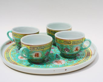 Aquamarine Set of 4 Tea Cups and Platter , Chinese Tea Cup Set , Porcelain Chinese , Chinese Pottery , Famille Rose , Mun Shou China