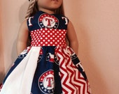"Texas RANGERS!  American Girl Doll clothes. For American Girl or simular 18"" Doll. 2 pc. set. Handmade. Jayhawks, Cowboys, Baylor, Yankees"