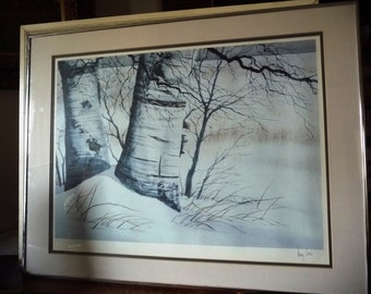 "Algoma Winter Landscape, Wilderness Snapshot by Doug Hook, Signed Artist's Print, ""Gateway To Winter"" 1960's"