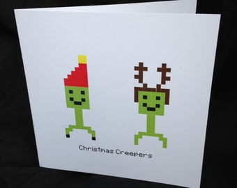Christmas Creepers - Minecraft Inspired Card