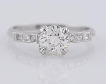 Antique Engagement Ring .79ct Old European Cut Diamond in Platinum