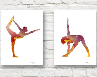 Set of 2 Yoga Art Prints - Watercolor Painting - Wall Decor