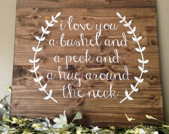 I Love You a Bushel and a Peck Sign, Wood Nursery Decor, Lullaby Sign, Baby Pallet, Custom Pallet Art, Wood Sign, Reclaimed Wood Sign