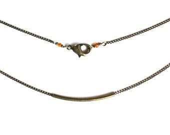 ON SALE! Dainty Curved Brass Bar Necklace // Minimalist Simple Gemstone Everyday Necklace // Antique Brass Bar necklace