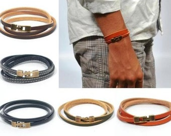 triple wrap leather bracelet, blue leather bracelet, bronze jewelry, unisex bracelet, men anniversary gift, gifts for dad