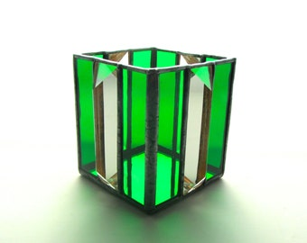 Emerald Green Stained Glass Tea Light Candle Holder