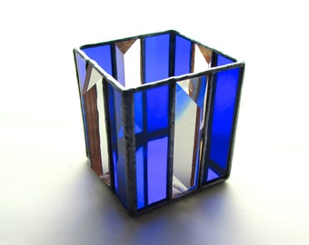 Sapphire Blue Stained Glass Tea Light Candle Holder