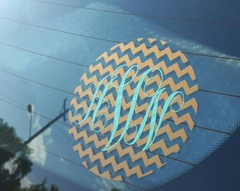 Chevron and Monogram Car Decal