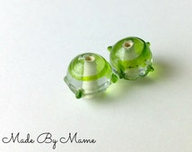 Green Lampwork Glass Beads, 14mm Round Bumpy Handmade Glass Beads, Destash Jewelry Supplies, Lime Green Swirl, Set of Two Beads, Focal Beads