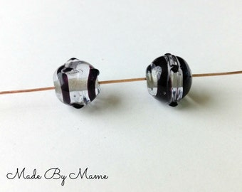 Lampwork Glass Beads, Clear & Black Swirl Bumpy Glass Beads, Destash Jewelry Supplies, Set of Two, Pair of Handmade Salvaged Artisan Beads