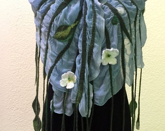 Nuno wet felting scarf wrap merino wool silk polyester light blue green leaves white flowers beads gift for her any occasion