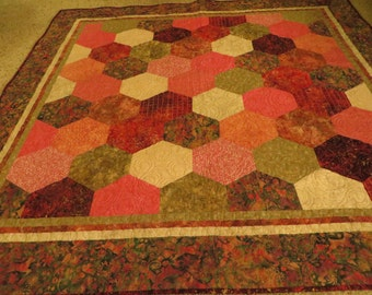 Bold Hexagon Quilt in Pinks and greens