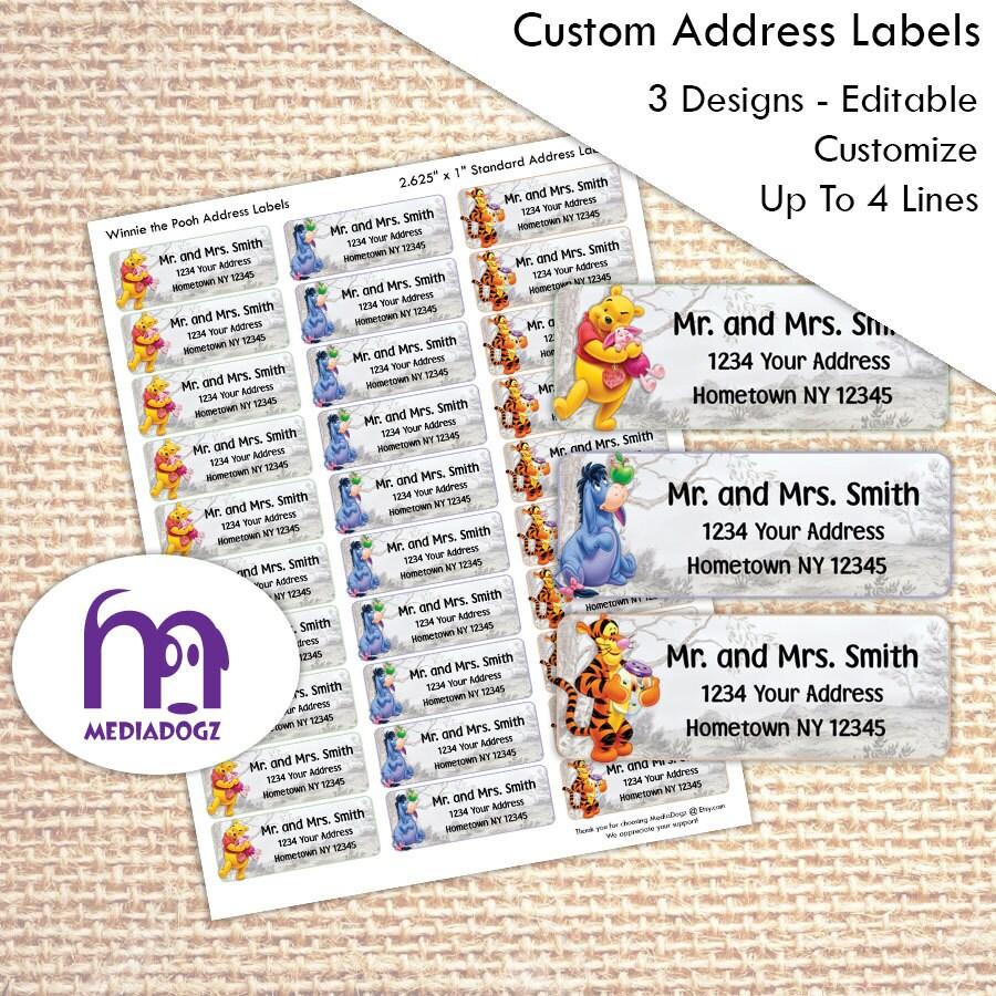 Winnie The Pooh Themed Address Return Mailing Labels Edit