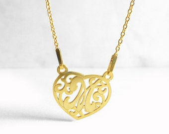 Dainty Necklace, Gold Plated Heart Charm Necklace M, Heart Letter M, Initial Necklace, Alphabet Jewelry, Name Jewelry, Gift idea