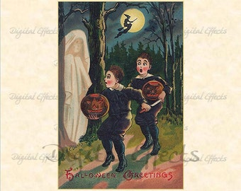 "VINTAGE HALLOWEEN Postcard, Ghost, Children, Jack-O-Lantern Printable Card 4x6"",Vintage Halloween Ephemera, Printable Halloween Card"